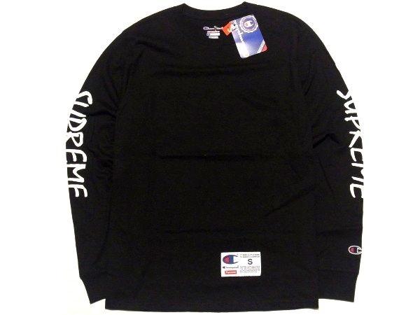 新品 16SS Supreme x Champion L/S Tee Sサイズ スリーブ FTP ロゴ チャンピオン 長袖 Tシャツ Black 黒_画像2