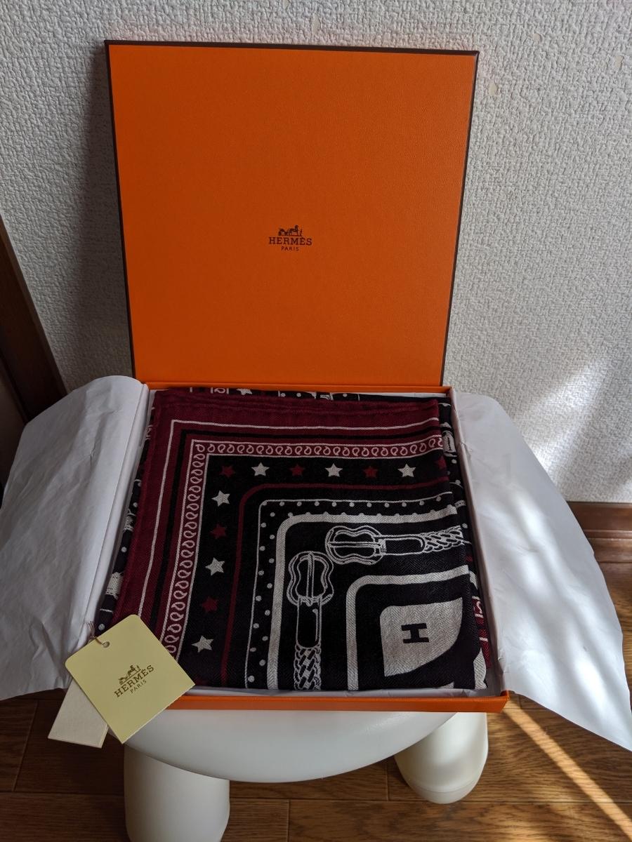 新品タグ付き HERMES カシミアシルクバンダナ 未使用 エルメス 確実正規 スカーフ