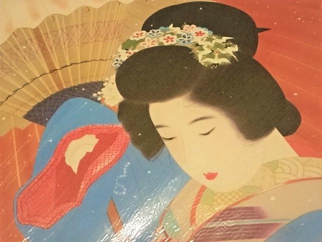 色紙 日本画 ★ 伊東深水 「 吹雪 」 ★ 複製 美人画 大正・昭和レトロ_画像2