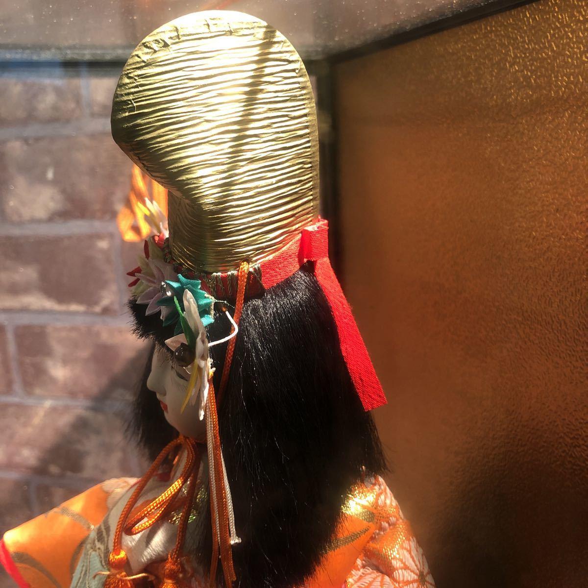 3283 浅妻 古い レトロ 日本人形 ガラスケースつき 昭和レトロ アンティーク 幅29cm高さ43cm奥行き24cm_画像7