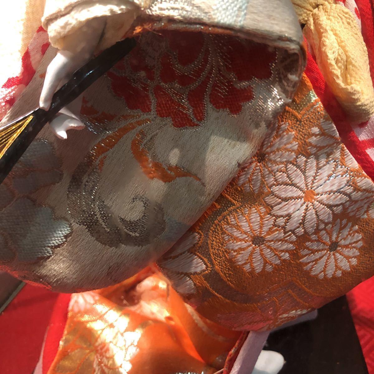 3283 浅妻 古い レトロ 日本人形 ガラスケースつき 昭和レトロ アンティーク 幅29cm高さ43cm奥行き24cm_画像5