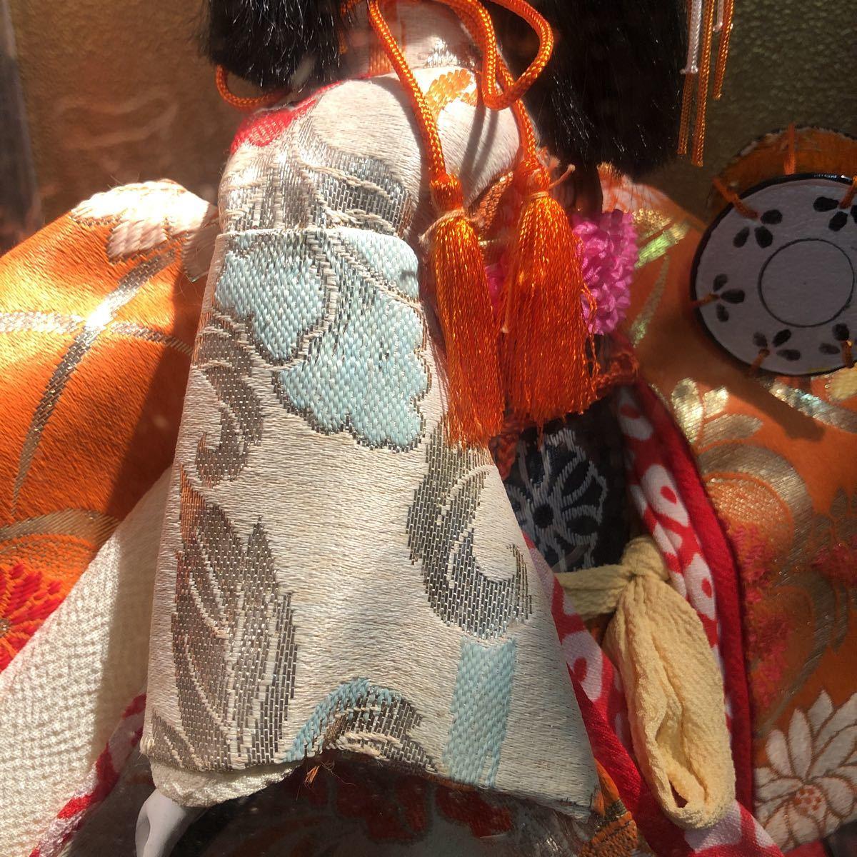 3283 浅妻 古い レトロ 日本人形 ガラスケースつき 昭和レトロ アンティーク 幅29cm高さ43cm奥行き24cm_画像4