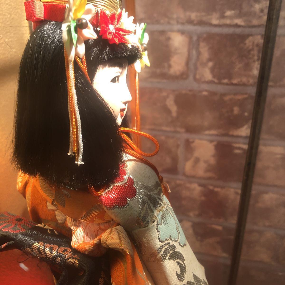 3283 浅妻 古い レトロ 日本人形 ガラスケースつき 昭和レトロ アンティーク 幅29cm高さ43cm奥行き24cm_画像9