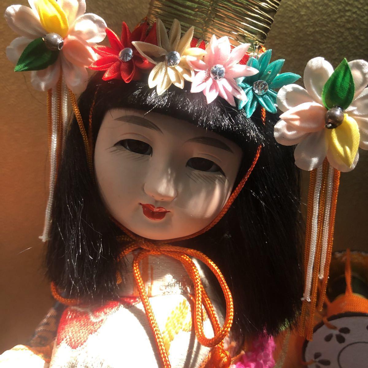 3283 浅妻 古い レトロ 日本人形 ガラスケースつき 昭和レトロ アンティーク 幅29cm高さ43cm奥行き24cm_画像3