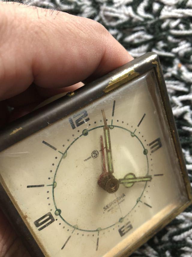 昭和レトロ SEIKOSHA 精工舎 置時計 実働 ゼンマイ 目覚まし レザーケース付きトラベルクロック _画像5