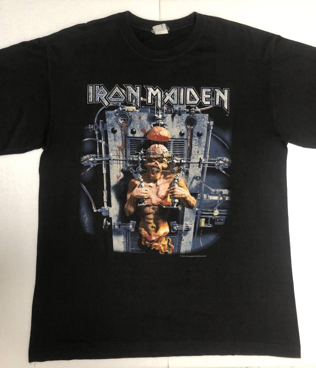 90s 95-96年 ツアー IRON MAIDEN アイアンメイデン ビンテージ Tシャツ 黒 オリジナル メタル ロック バンド tシャツ レア コピーライト_画像1