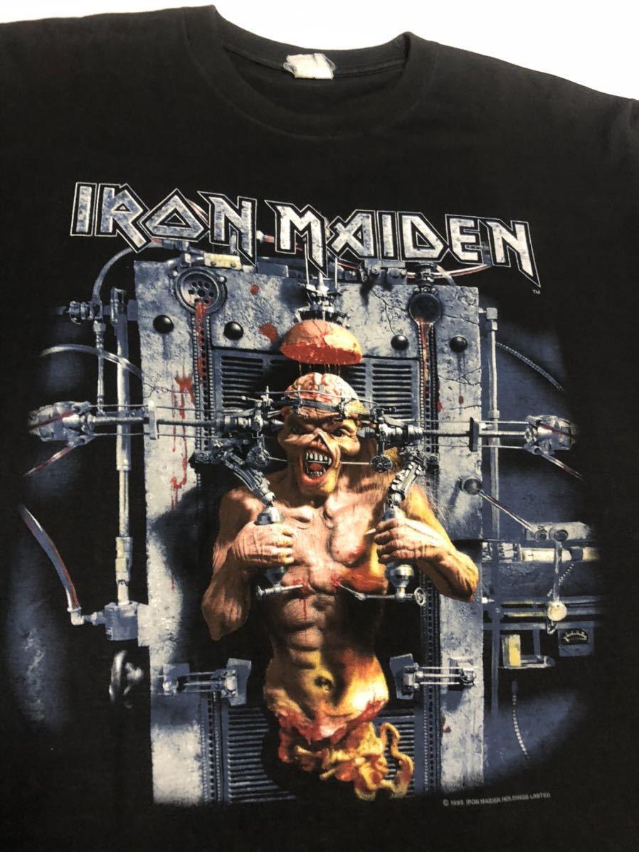 90s 95-96年 ツアー IRON MAIDEN アイアンメイデン ビンテージ Tシャツ 黒 オリジナル メタル ロック バンド tシャツ レア コピーライト_画像3