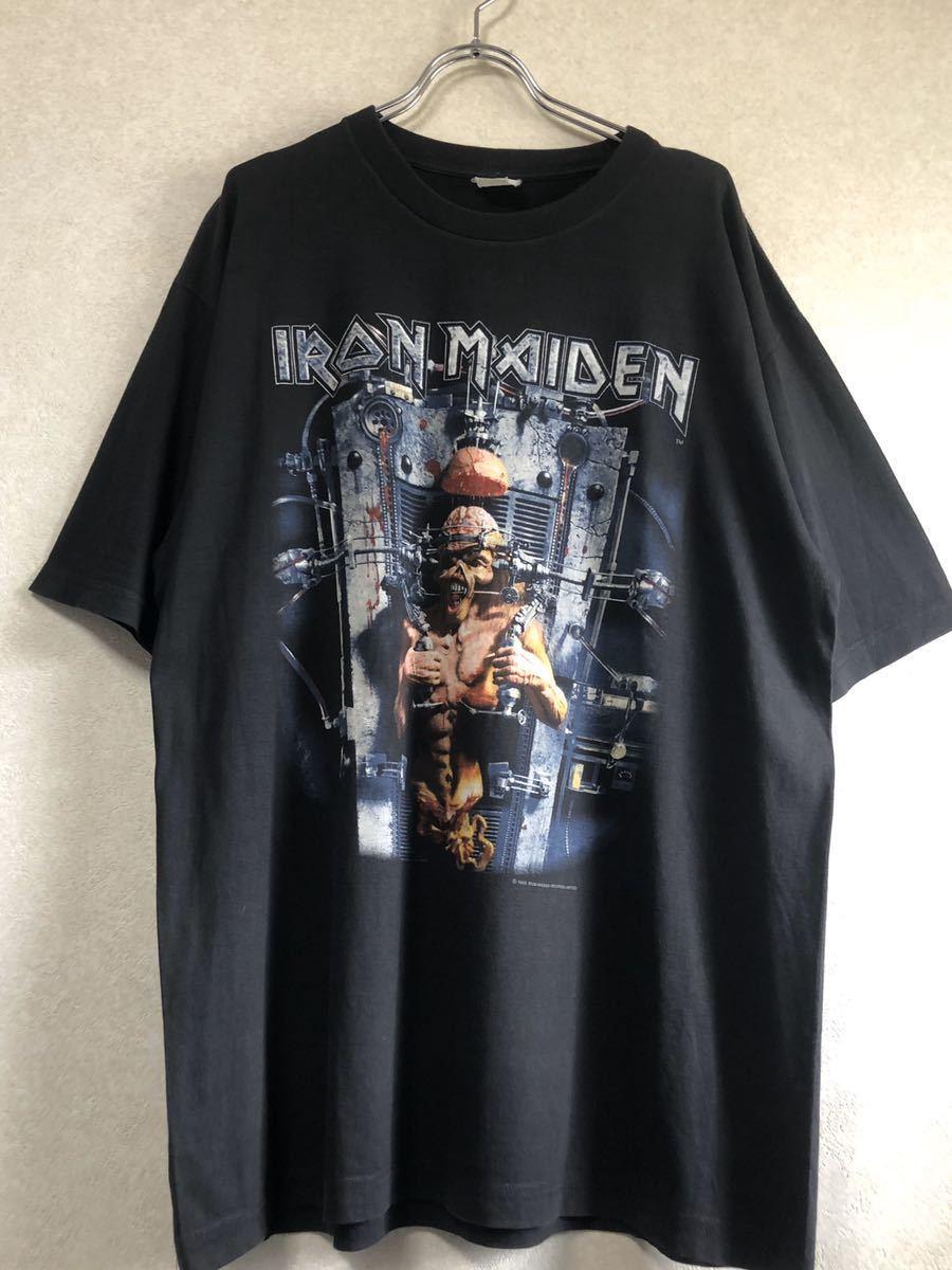 90s 95-96年 ツアー IRON MAIDEN アイアンメイデン ビンテージ Tシャツ 黒 オリジナル メタル ロック バンド tシャツ レア コピーライト_画像9