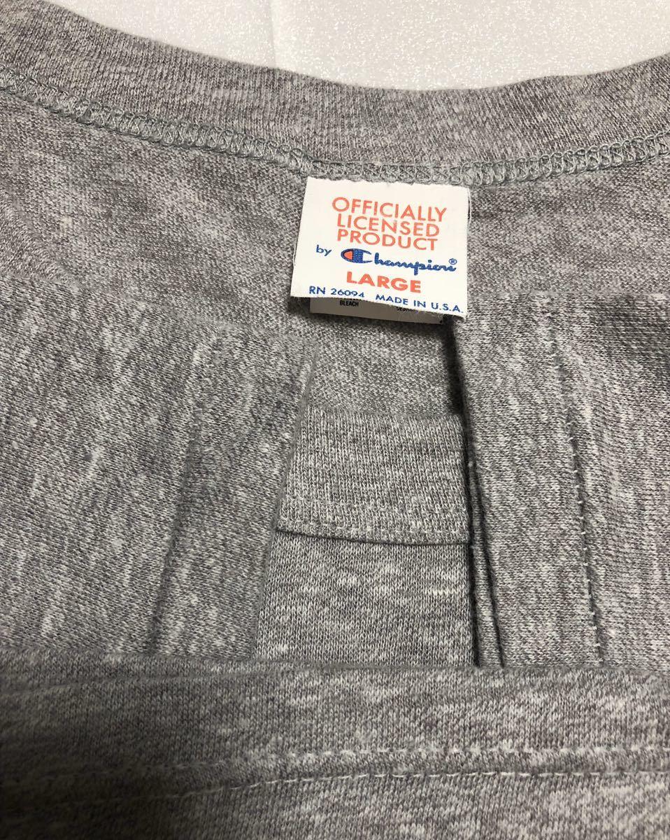 美品! 80s~ USA製 champion チャンピオン ビンテージ tシャツ オフィシャルTシャツ グレー L NFL ニューヨークジャイアンツ 90s トリコタグ_画像7