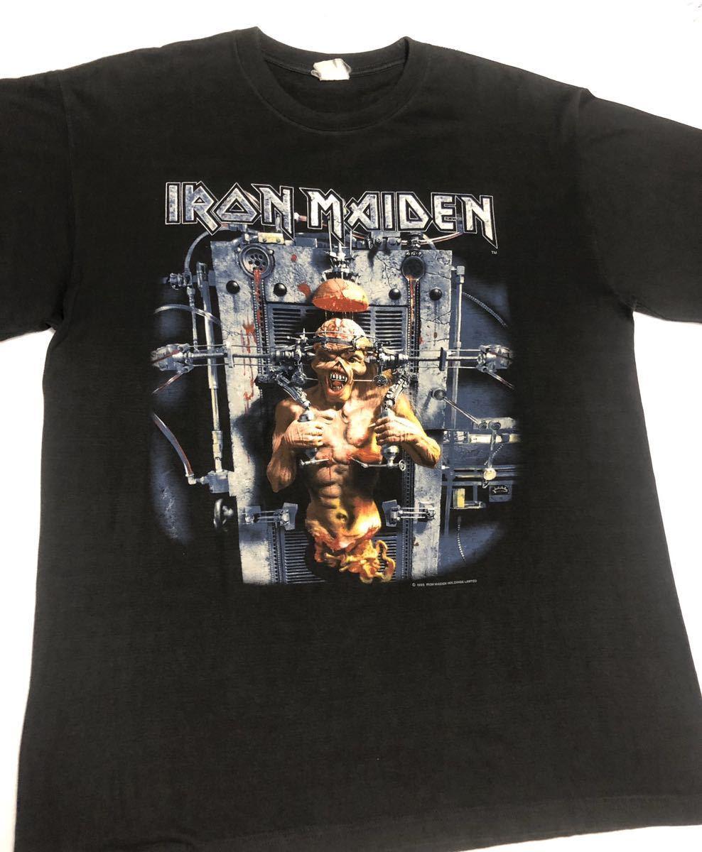 90s 95-96年 ツアー IRON MAIDEN アイアンメイデン ビンテージ Tシャツ 黒 オリジナル メタル ロック バンド tシャツ レア コピーライト_画像2