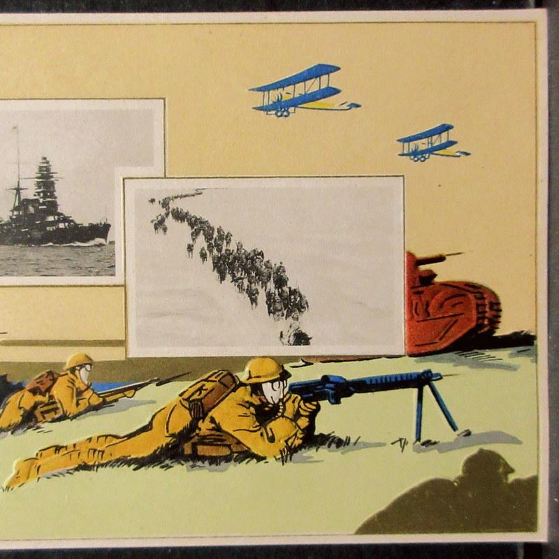 戦前 絵葉書 軍人 戦車 戦艦図 写真 昭和11年卯月臨時祭  / 1936年 エンボス 絵はがき ポストカード 飛行機図_画像5