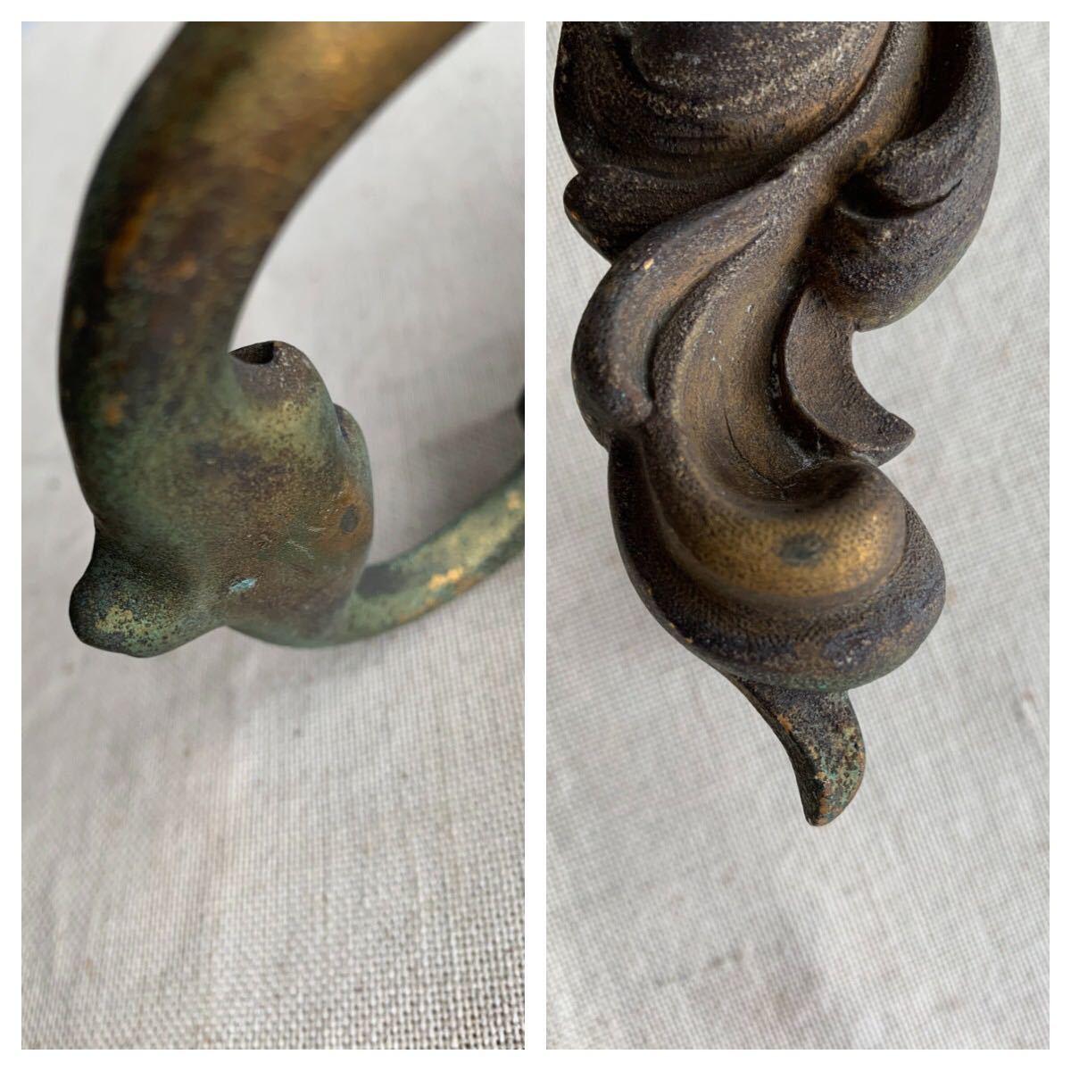 装飾が素敵な真鍮製ドアノック 壁オブジェデコレーション蚤の市ヴィンテージ店舗什器ドアパーツアンティークインテリアディスプレイ彫刻_画像8