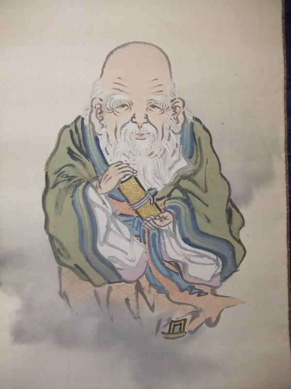 骨董■掛軸 明治四拾年 絹本 肉筆 雲中寿老図 在銘 共箱■_画像5