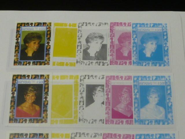 19 S プリンセス ダイアナ妃 追憶記念 フランス領 ベニン切手 1998年 9種完 未使用+印刷カラープルーフ 36種 写真7枚目オマケ_画像2