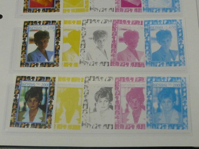 19 S プリンセス ダイアナ妃 追憶記念 フランス領 ベニン切手 1998年 9種完 未使用+印刷カラープルーフ 36種 写真7枚目オマケ_画像3