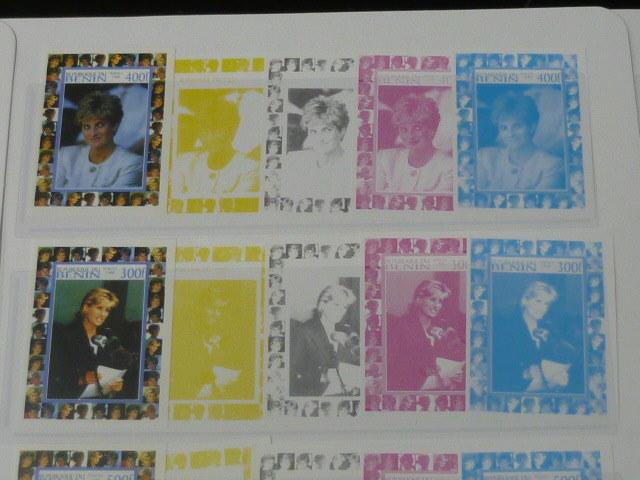 19 S プリンセス ダイアナ妃 追憶記念 フランス領 ベニン切手 1998年 9種完 未使用+印刷カラープルーフ 36種 写真7枚目オマケ_画像4