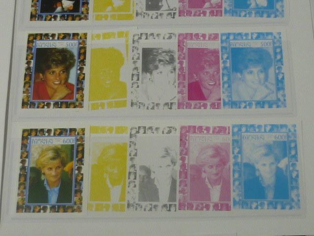 19 S プリンセス ダイアナ妃 追憶記念 フランス領 ベニン切手 1998年 9種完 未使用+印刷カラープルーフ 36種 写真7枚目オマケ_画像5