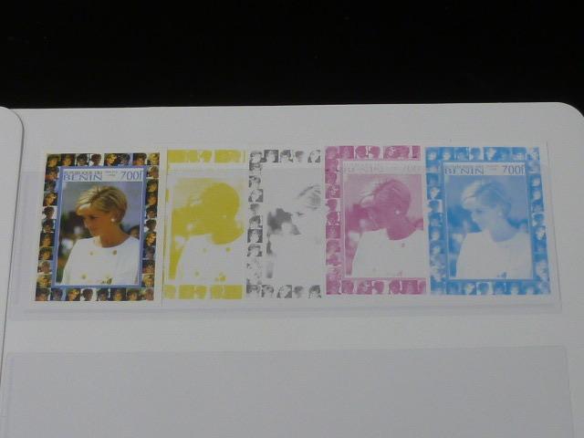 19 S プリンセス ダイアナ妃 追憶記念 フランス領 ベニン切手 1998年 9種完 未使用+印刷カラープルーフ 36種 写真7枚目オマケ_画像6