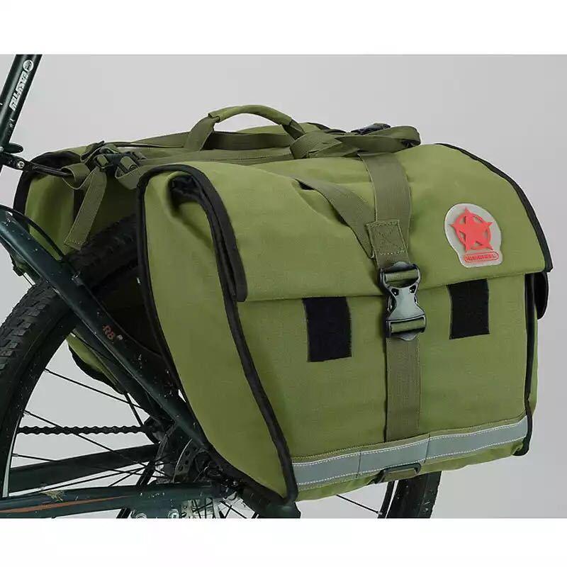 Roswheel 緑のキャンバス防水ダブル自転車バイクパニエリアシートバッグバイクポーチ 40-50L バイクトランクラックバッグ Bycicle_画像4