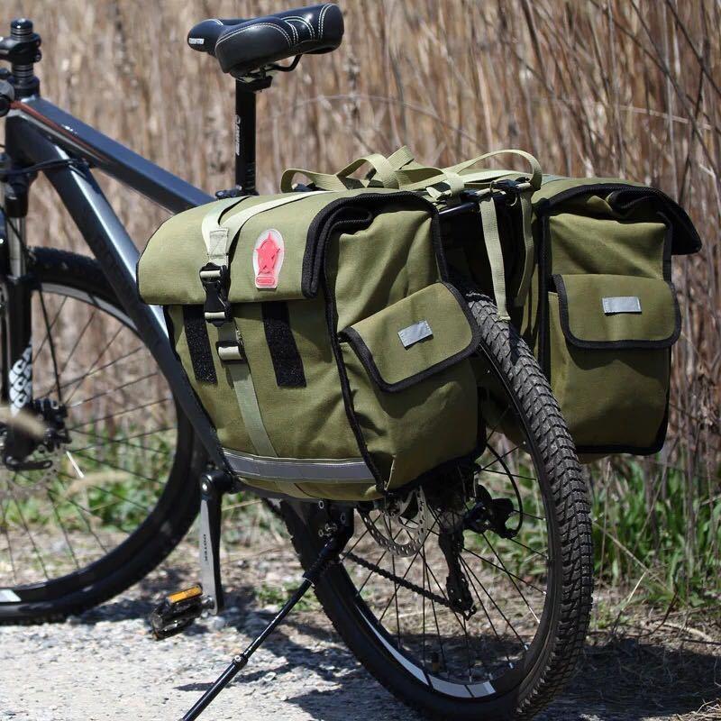 Roswheel 緑のキャンバス防水ダブル自転車バイクパニエリアシートバッグバイクポーチ 40-50L バイクトランクラックバッグ Bycicle_画像5