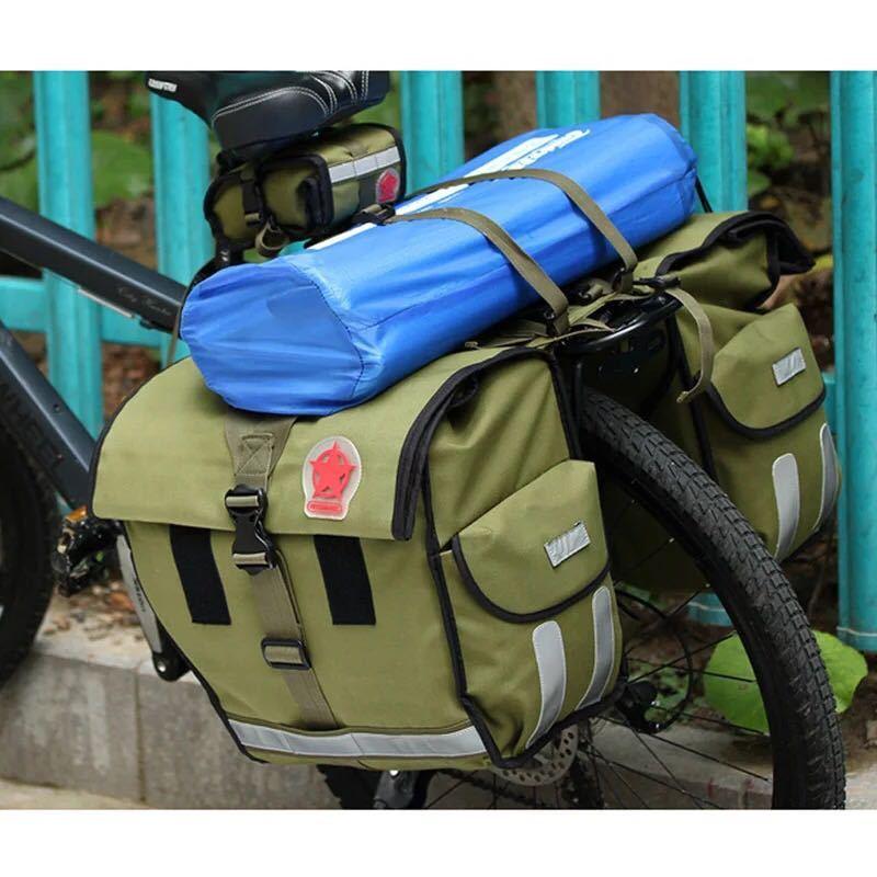 Roswheel 緑のキャンバス防水ダブル自転車バイクパニエリアシートバッグバイクポーチ 40-50L バイクトランクラックバッグ Bycicle_画像6