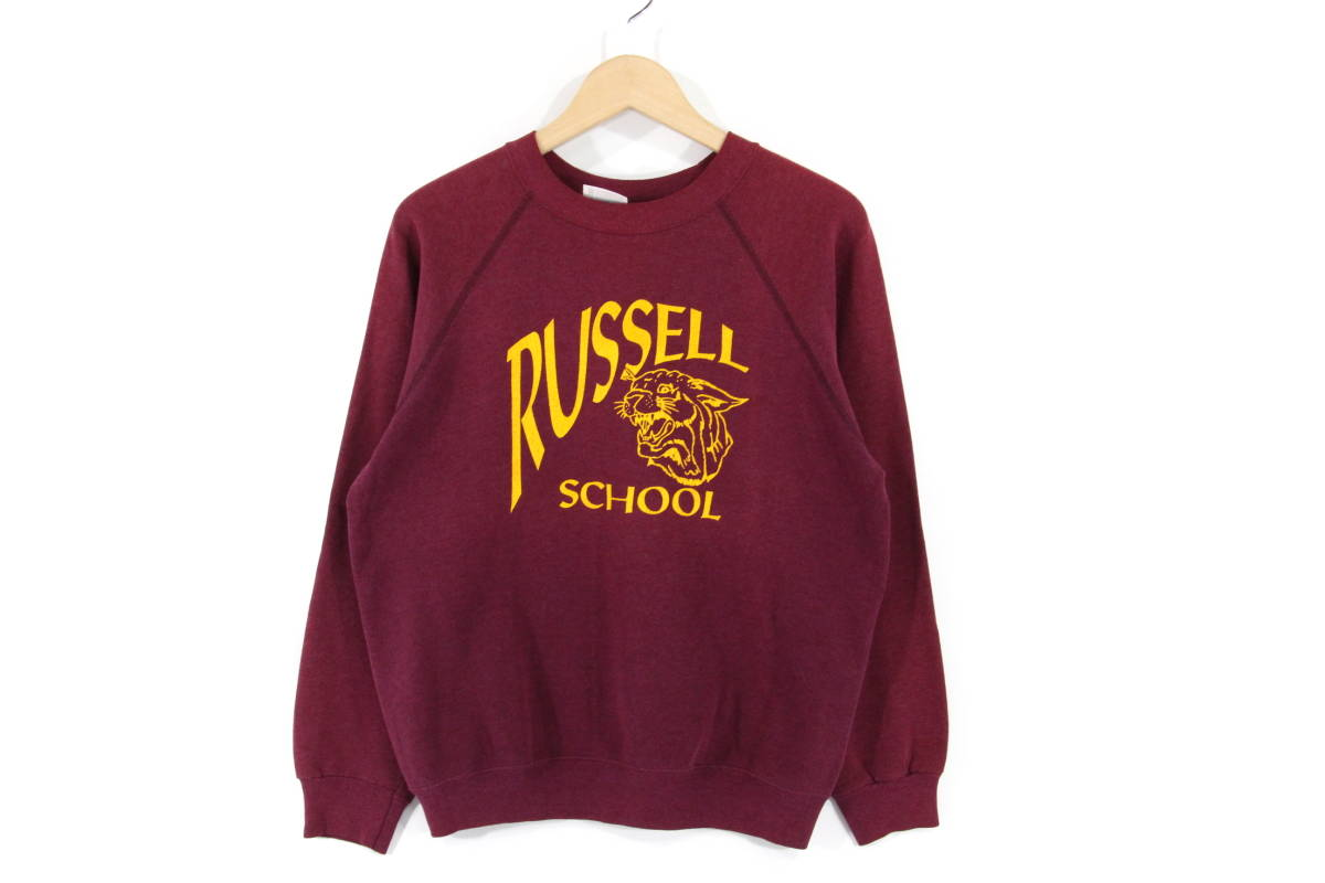 【80's】RUSSELL SCHOOL ビンテージ スウェット トレーナー M 38-40 バーガンディ USA製 HANES ラッセルスクール カレッジ ヘインズ_画像1