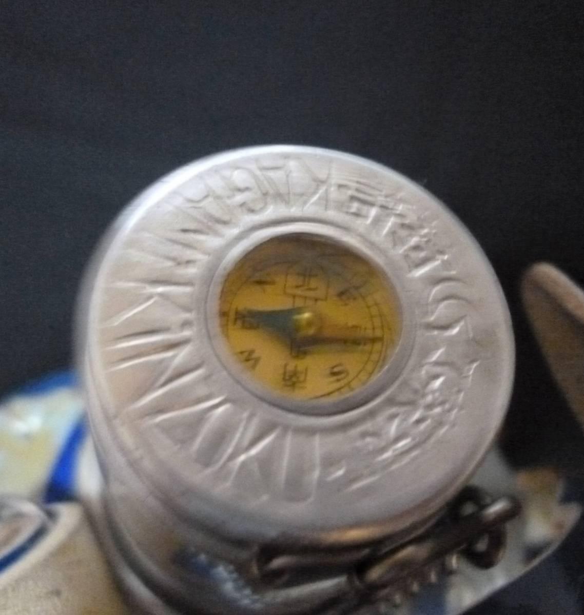 【昭和レトロ】戦後の方位磁石付きアルミ水筒 青_画像3