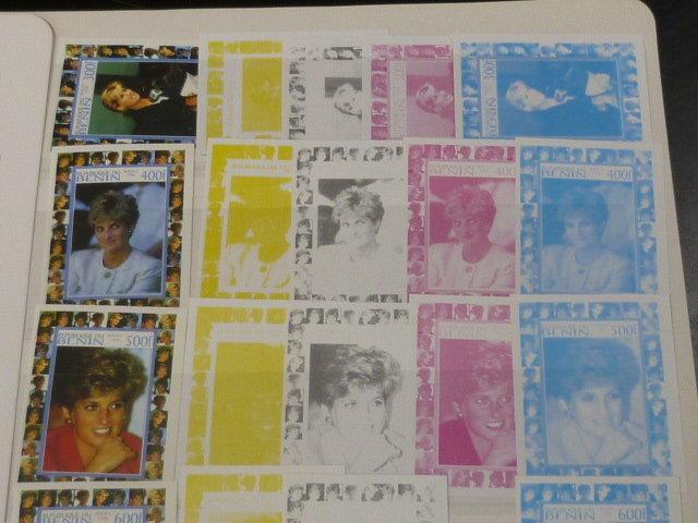 19 P №2 プリンセス ダイアナ妃 追憶記念 フランス領 ベニン切手 1998年 9種完 未使用+印刷カラープルーフ 32種_画像4