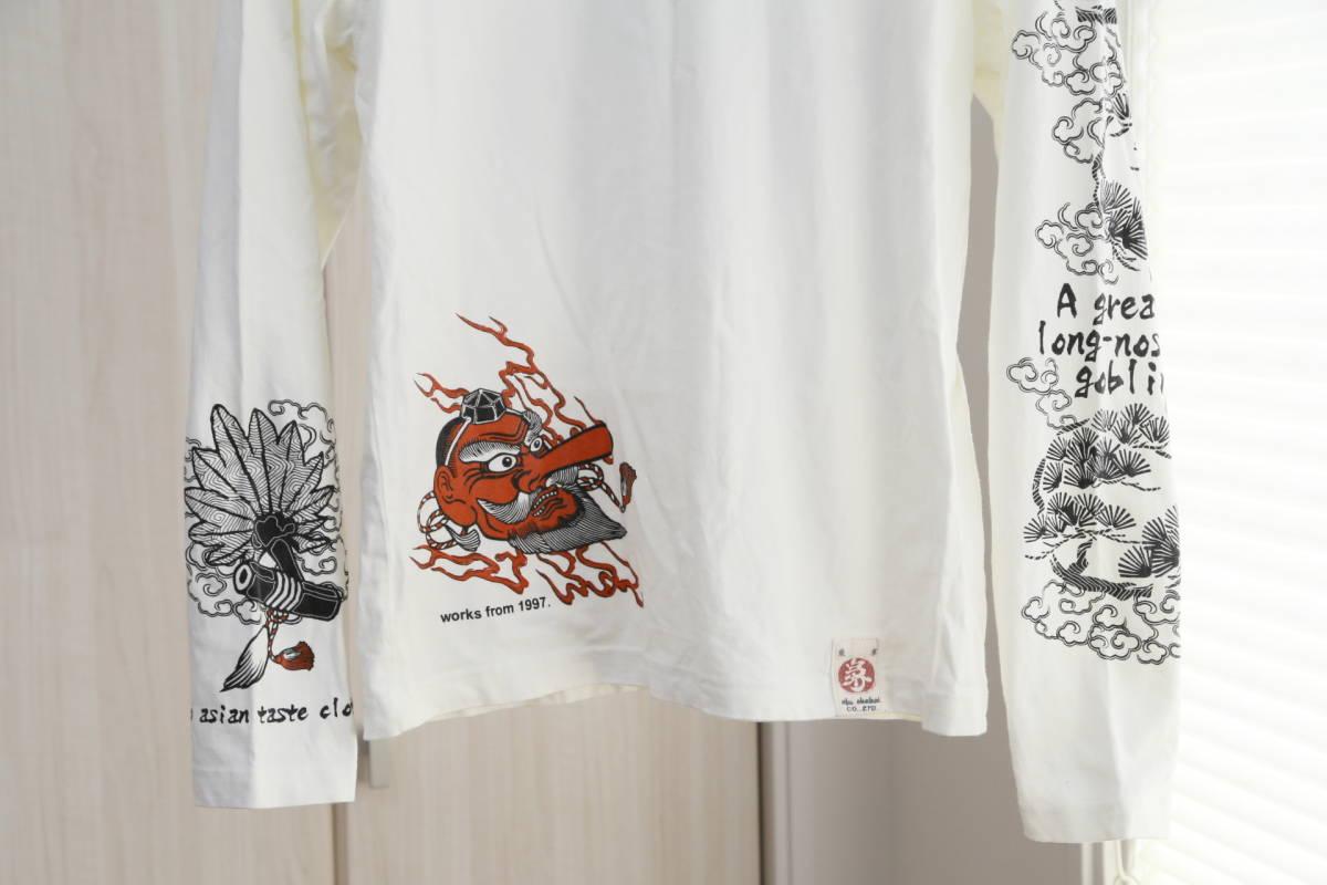 ★爆爛(Ted Company)テッドカンパニー和柄プリントロングTシャツ  古着ユーズド男性メンズ白ホワイト日本ジャパンアジアン天狗トップス_画像3