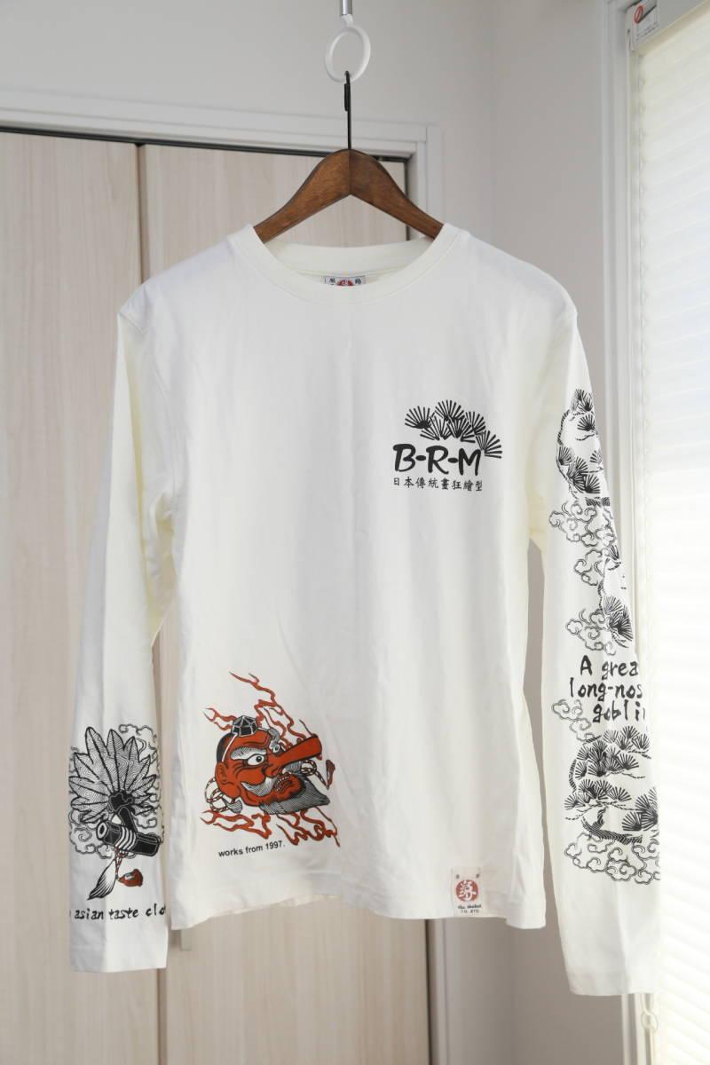 ★爆爛(Ted Company)テッドカンパニー和柄プリントロングTシャツ  古着ユーズド男性メンズ白ホワイト日本ジャパンアジアン天狗トップス