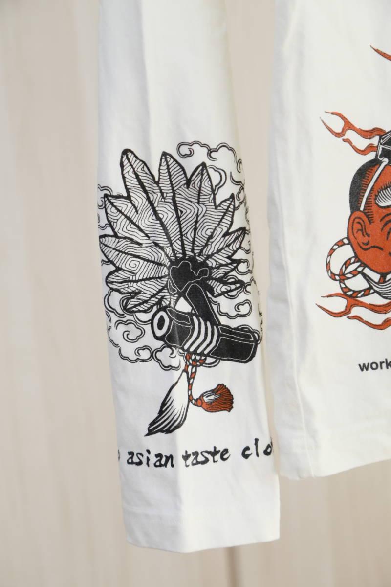 ★爆爛(Ted Company)テッドカンパニー和柄プリントロングTシャツ  古着ユーズド男性メンズ白ホワイト日本ジャパンアジアン天狗トップス_画像7
