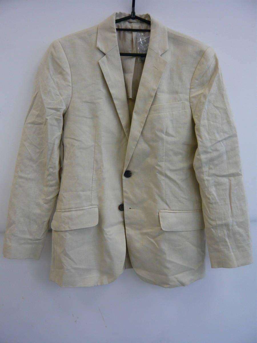 GU ジーユー リネンブレンドテーラードジャケット ベージュ Sサイズ 新品タグ、ボタン付き メンズ 01_画像1