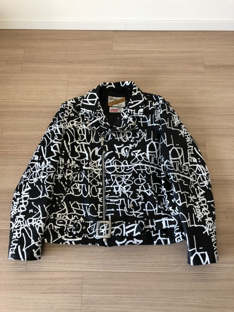 Supreme Comme des Garcons SHIRT Schott painted perfecto Leather jacket シュプリーム コムデギャルソン ショット