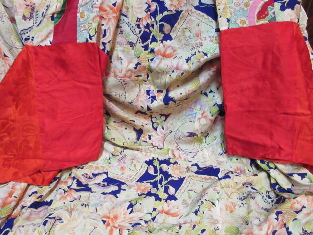 577 アンティーク 時代物 正絹 紅絹 着物 古布 リメイク 縮緬素材