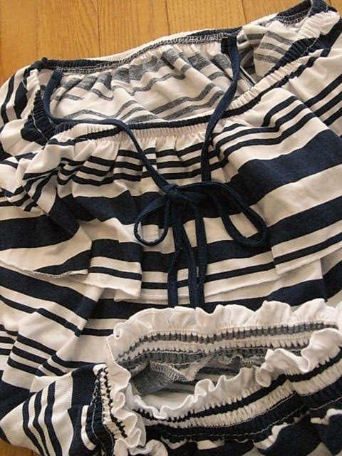 Che Lic レディース かわいい半袖ブラウス ネイビー&ホワイト系 ボーダー サイズフリー