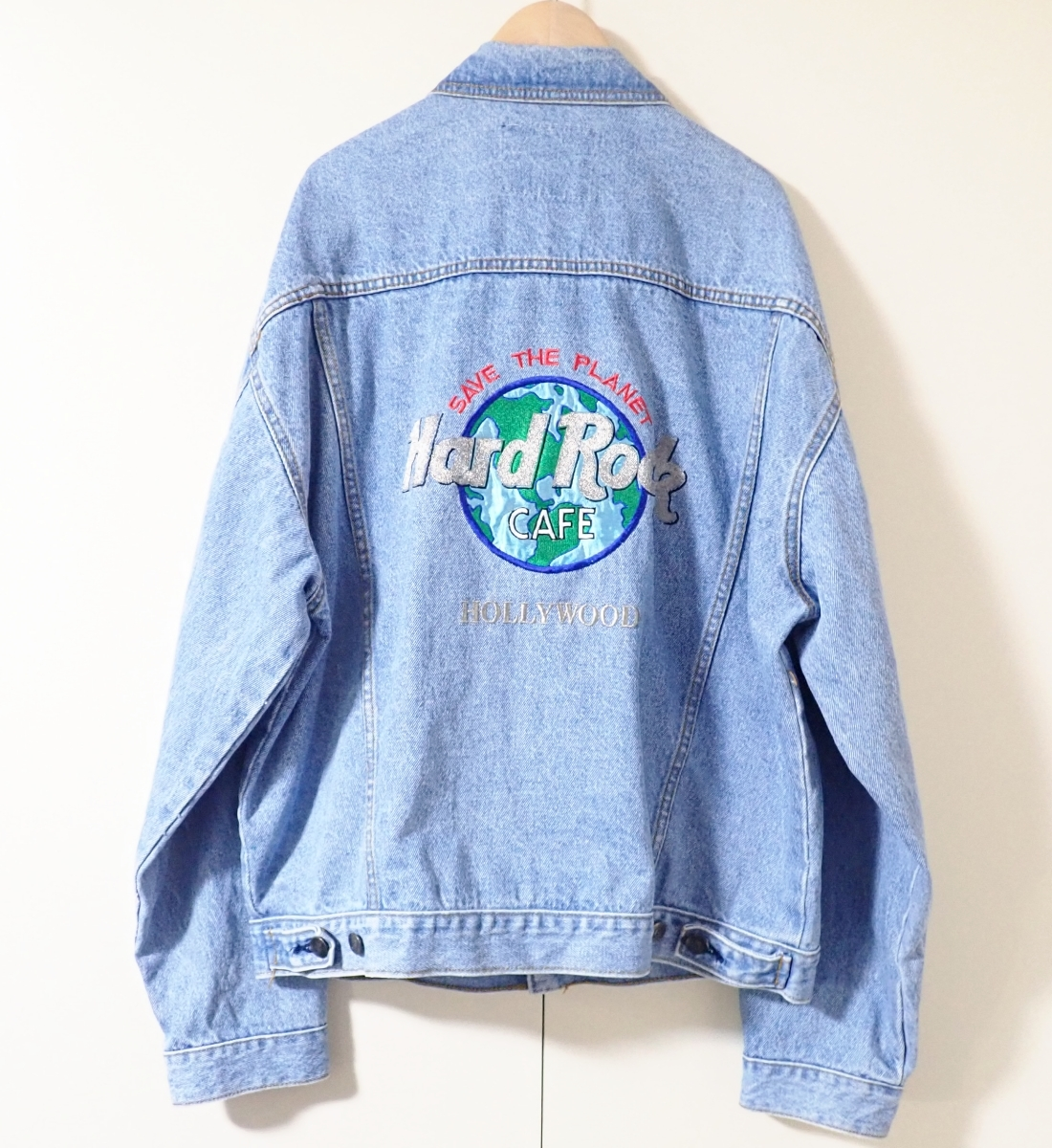 460/Hard Rock CAFE ハードロックカフェ Lサイズ Gジャン デニム ジャケット 刺繍 古着 オーバーサイズ ゆるだぼ ヴィンテージ ビンテージ_画像1