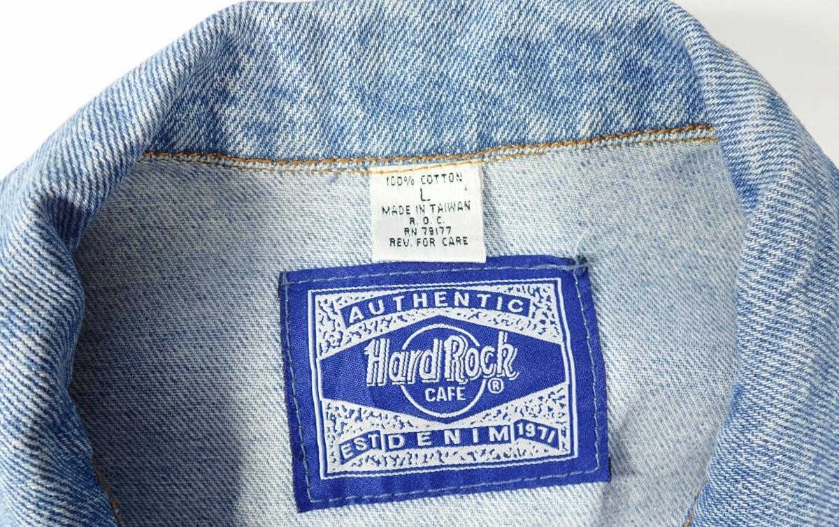 460/Hard Rock CAFE ハードロックカフェ Lサイズ Gジャン デニム ジャケット 刺繍 古着 オーバーサイズ ゆるだぼ ヴィンテージ ビンテージ_画像4