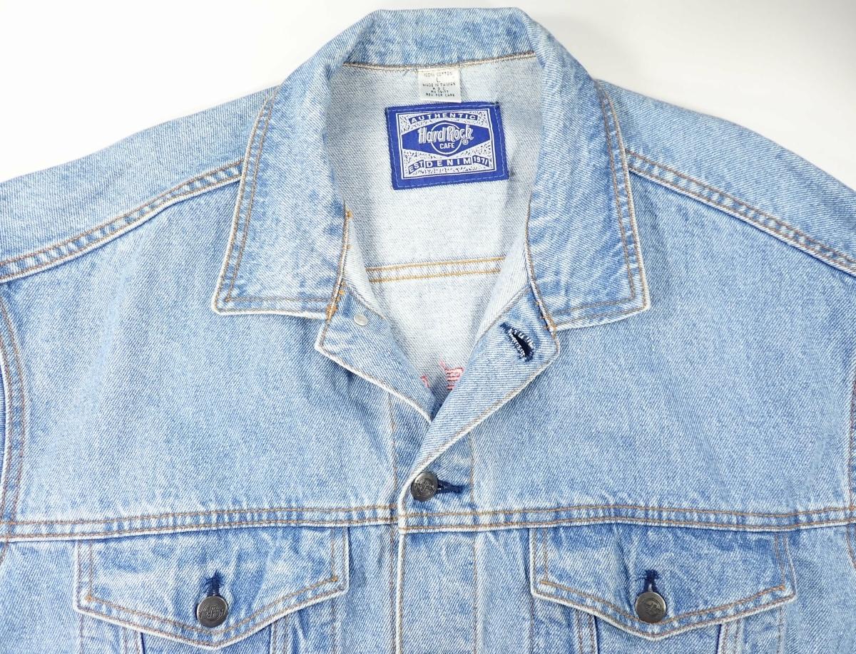 460/Hard Rock CAFE ハードロックカフェ Lサイズ Gジャン デニム ジャケット 刺繍 古着 オーバーサイズ ゆるだぼ ヴィンテージ ビンテージ_画像3