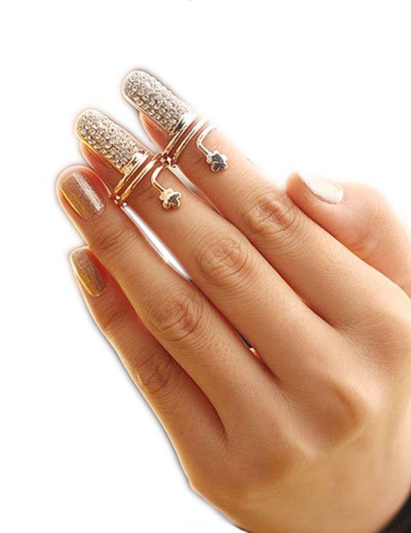 キラキラ お洒落 ネイル リング 関節リング 指輪 爪の指輪 アクセサリー 金