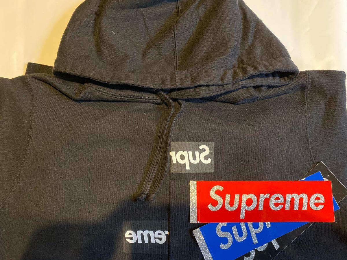 Sサイズ Supreme / Comme des Garcons SHIRT Split Box Logo Hooded Sweatshirt Black 黒 シュプリーム ギャルソン レアステッカー3枚付