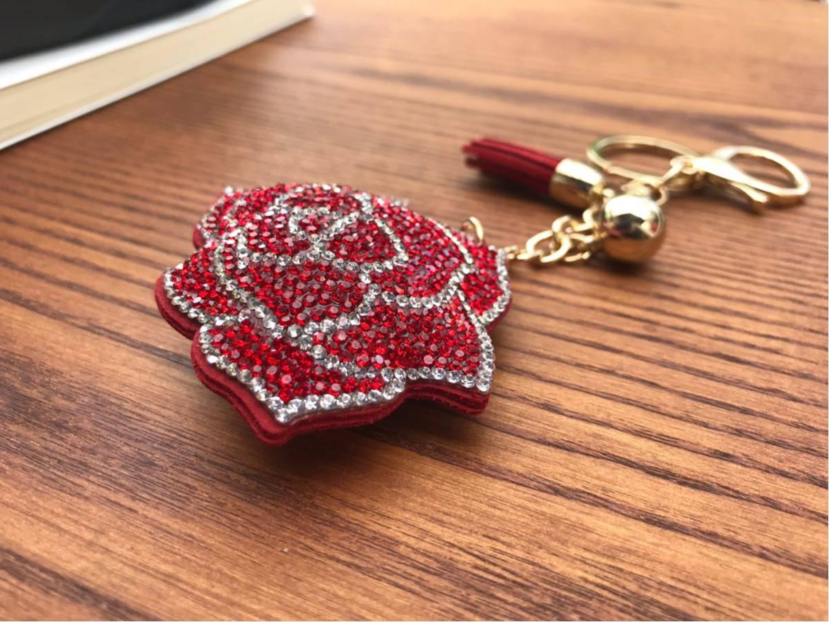 バッグチャーム キーホルダー ローズ バラ ラインストーン キラキラチャーム キーチェーン 赤薔薇 バッグアクセサリー