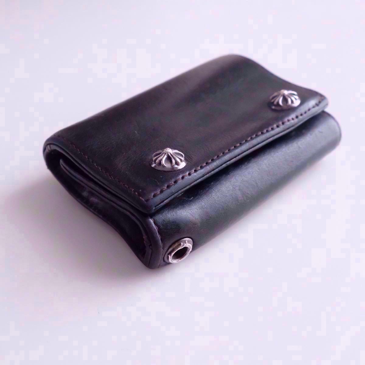 クロムハーツ 財布 三つ折り財布 本革 レザー 黒 クロス 3フォールドウォレット コンパクト