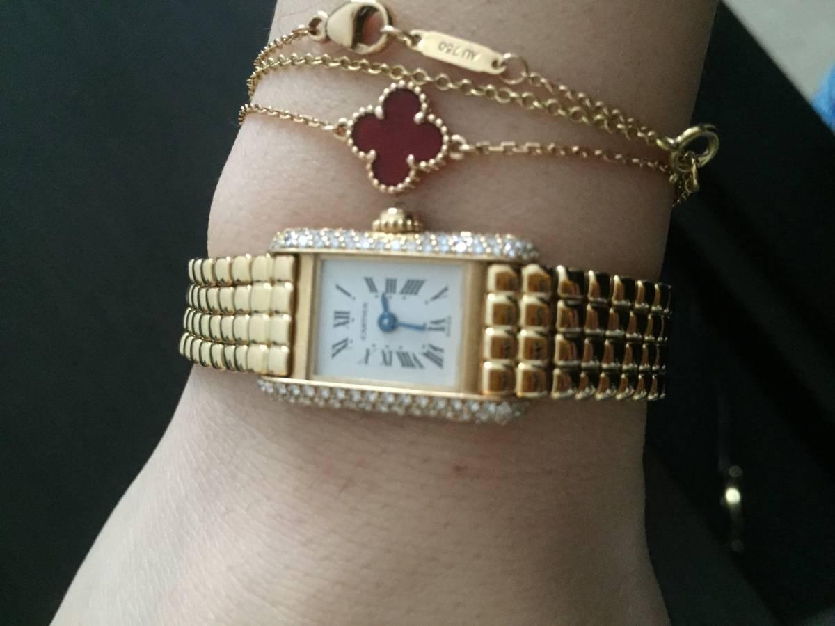 美品 Cartier カルティエ ladies 腕時計 タンクアメリカン tank quartzダイヤ 腕時計 K18YG イエローゴールド 300万定価