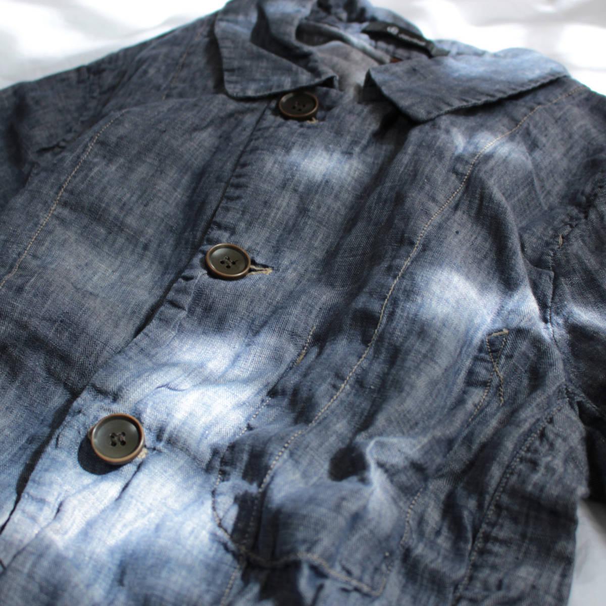 良好品* johnbull ジョンブル 麻100% シワ加工スプリングコート Mサイズ ●ジョンブル リネン メンズ 男性用 アウター 春 ブルー 青●