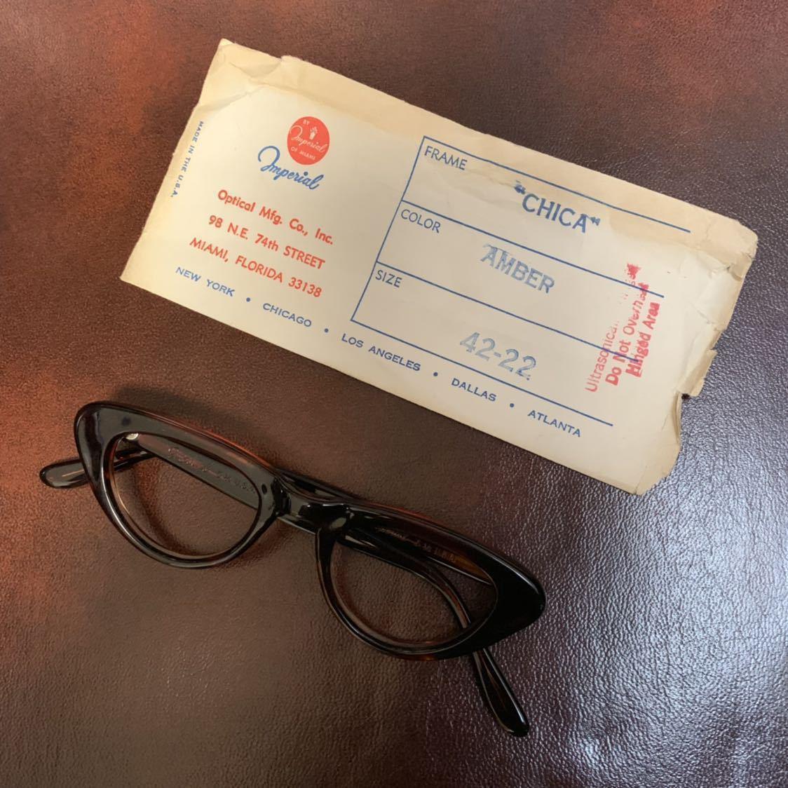 ヴィンテージ 50's デッドストック IMPERIAL セルフレーム 眼鏡 メガネ フォックス キャッツアイ_画像4