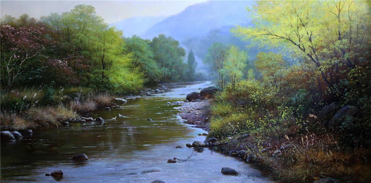 油彩 油絵 絵画 風景画 美しい河の景色9 一級画家肉筆保証 10月18日