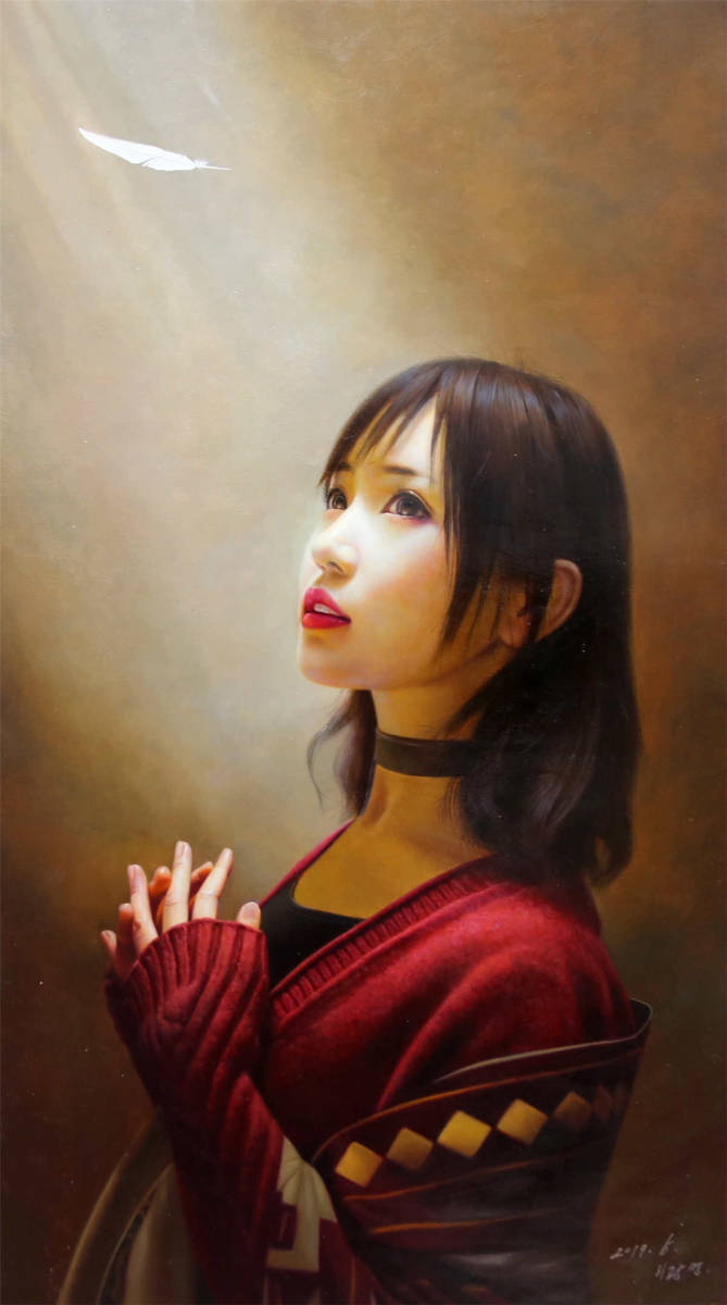 油彩 油絵 絵画 人物画 仕女美女 一級画家肉筆保証 10月18日
