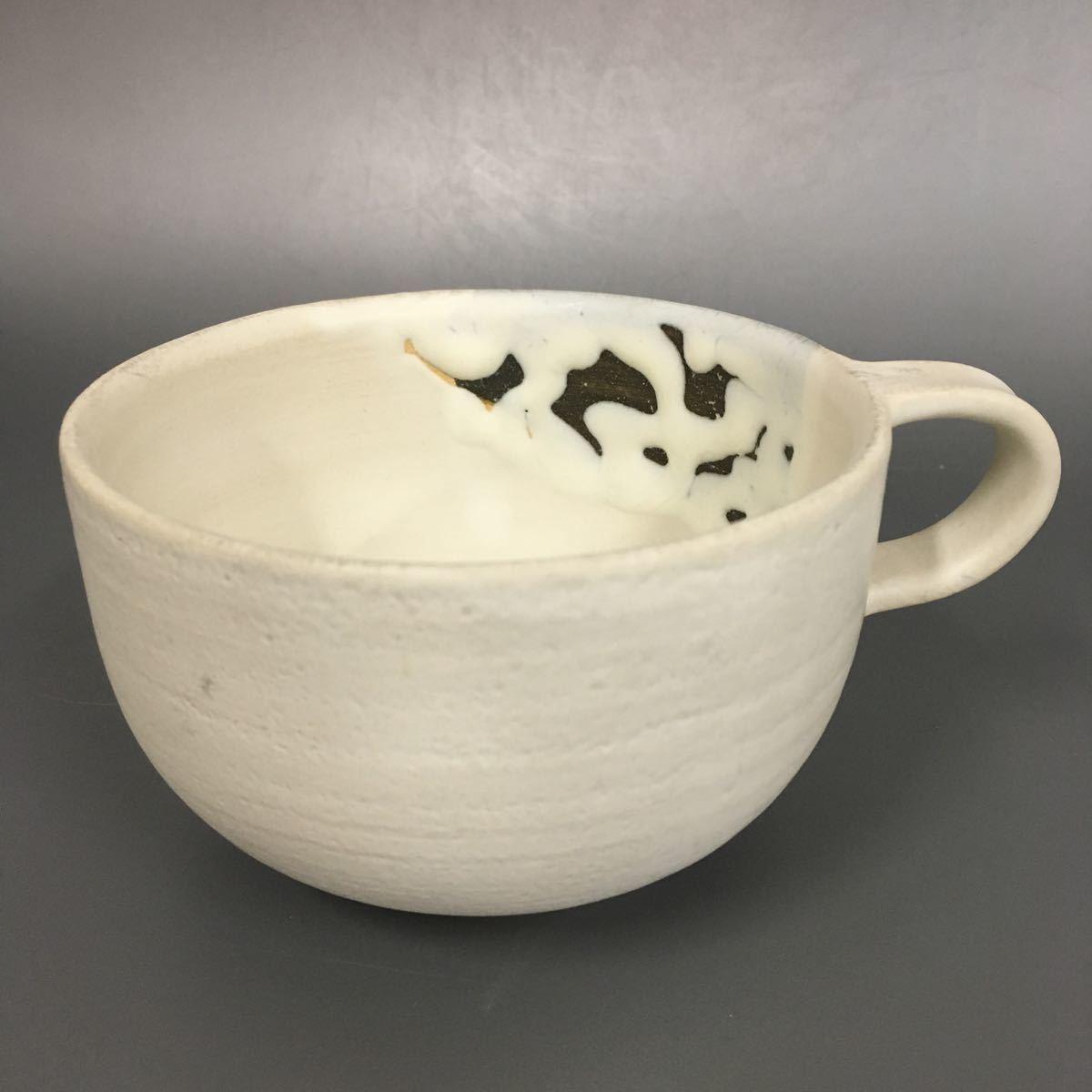 対92) 【同梱OK】 萩焼 スープカップ 鬼萩 粉引 珈琲器 コーヒーカップ 未使用新品 同梱歓迎_画像1