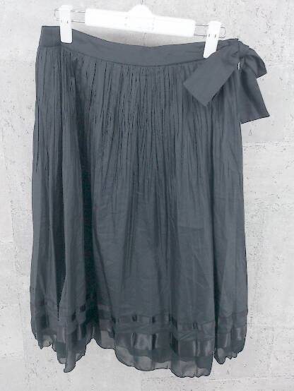 ◇ K.T ケーティー キヨコタカセ 膝下丈 プリーツ ギャザー スカート 13 ブラック * 1002797148148