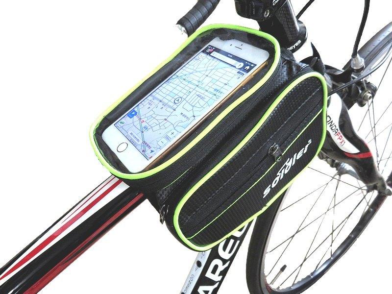送料無料 自転車用 サイクル バッグ フレームバッグ カーボン調 5.5インチまで対応 スマホケース付 ロードバイク クロスバイク ピスト_画像2